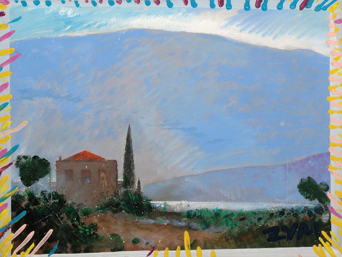 «Όραμα νοσταλγίας», 1989. Ακρυλικό σε μουσαμά, 60x80 εκ.© Γιώργος Ζυμαράκης