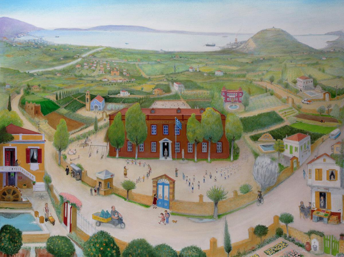 «Τα σχολεία του Κάμπου», 2007. Ακρυλικό σε μουσαμά, 150x200 εκ. © Γιώργος Ζυμαράκης